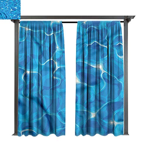(cobeDecor Outdoor Curtain Aqua Vivid Water Surface Waves for Lawn & Garden, Water & Wind Proof W108)