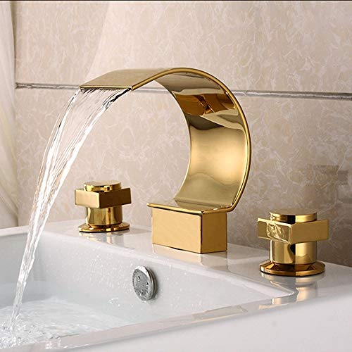 (HUIJIN1 European Style tub spout, Gold Plated Bathtub Faucet, Luxury Widespread Waterfall tub Faucet, 2 Handles, Solid Brass,Chrome Polished, Gold )