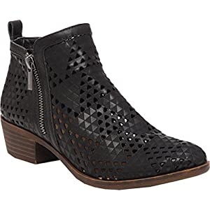 Lucky Brand Women's Basel Ankle Bootie Black Perforated Nubuck 5 M US
