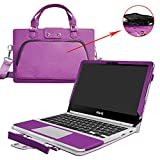 "Asus C302CA Case,2 in 1 Accurately Designed Protective PU Leather Cover + Portable Carrying Bag For 12.5"" Asus Chromebook Flip C302CA C302CA-DHM4 C302CA-DH54 Laptop,Purple"