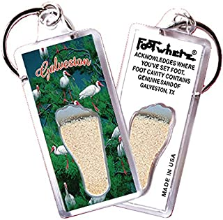 "product image for Galveston ""FootWhere"" Keychain (GV106 - White Iris). Authentic Destination Souvenir acknowledging Where You've Set Foot. Genuine Soil of Featured Location encased Inside Foot Cavity. Made in USA"