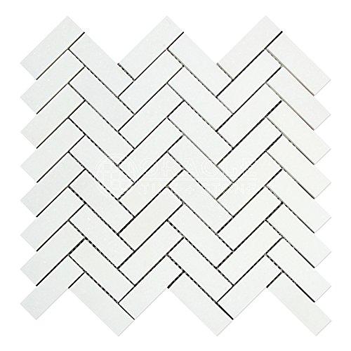 Thassos White Greek Marble 1 X 3 Herringbone Mosaic Tile, Polished -