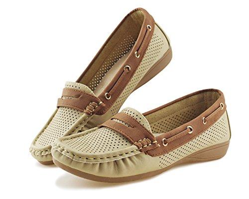 Jabasic Lady Comfort Slip-on Loafers Hollow Driving Flat Shoes(7.5,Beige) by Jabasic (Image #6)