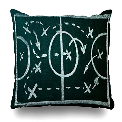 (Ahawoso Throw Pillow Cover Square 18x18 Recreation Football Soccer Formation Tactics On Blackboard Plan Sports Field Strategy American Pillowcase Home Decor Cushion Pillow Case)