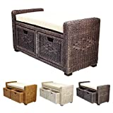 Cheap Rattan Wicker Bruno Handmade 35″ Chest Storage Trunk Organizer Ottoman Two Drawers Dark Brown