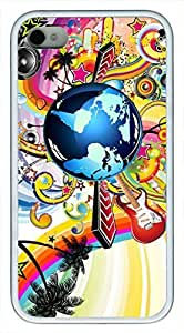 Beautiful cool vintage guitar music notes POP Custom Rubber(TPU) white Cell iphone Case for iphone 4 or iphone 4s by Cell iphone Cases & Mousepads