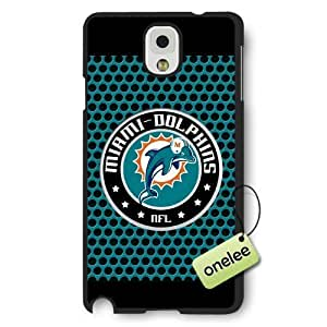 Personalize NFL Miami Dolphins Team Logo Frosted Black Samsung Galaxy Note 3 Case Cover - Black