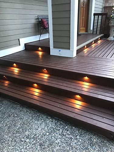 FVTLED 30pcs Low Voltage LED Deck Lights kit Φ1.38'' Outdoor Garden Yard Decoration Lamp Recessed Landscape Pathway Step Stair Warm White LED Lighting, Bronze by FVTLED (Image #3)