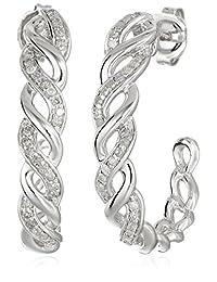Sterling Silver 1/4cttw Diamond Hoop Earrings