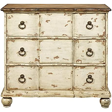 Pulaski DS P017029 Antique Two Tone Distressed Drawer Chest With Ring Pulls Brown