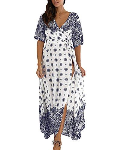 Sleeve Boho Maxi Simplee Print Apparel Women's Chiffon Wrap Floral Long White Dress 6gwcOBIwq