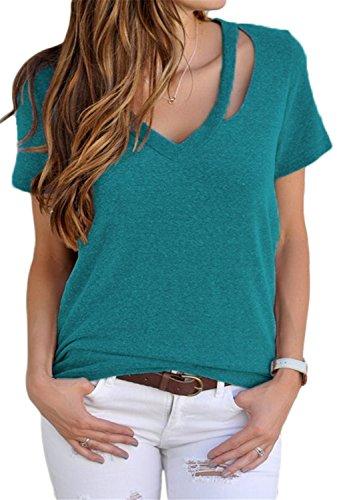 Dokotoo Womens Plus Size Cotton Short Sleeve V Neck Tunics Basic Tops and Blouse Shirts Cyan (Plus V-neck Top)