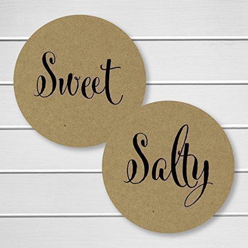 Sweet and Salty Kraft Stickers, Wedding Welcome Bag Sticker, His Favorite Her Favorite Wedding Stickers (#375-KR)
