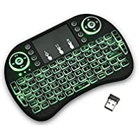 Mini Teclado Inalambrico Iluminado, Con TouchPad, USB 2.4GHz para PC, Android TV Box, Negro