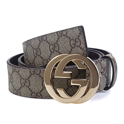 Belts (Men's Classic 38-mm Big GG Buckle Leather Jeans Belt (Length: 42inch, Gold)