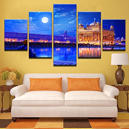 (Canvas Wall Art HD Prints Painting Modular Pictures Frame 5 Pieces Indian Golden Temple Posters Living Room Home Decor ,20x35 20x45 20x55cm,Frame)