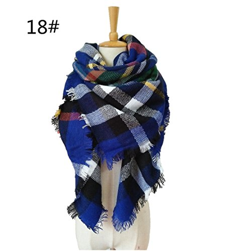 (Liouliu Women's Plaid Blanket Scarf Stylish Long Wrap Warm Tartan Checked Shawl,(Royal Blue,Black and White))