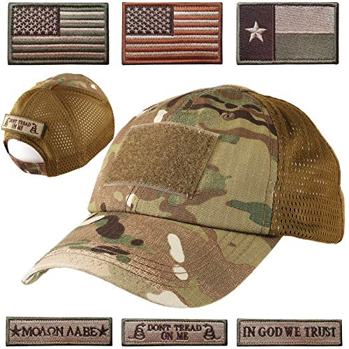Lightbird Mesh Tactical Hat with 6 PCS Tactical Military Patches, Adjustable Operator Hat, Durable Tactical OCP Flag Ball Cap Hat for Men Work, Gym, Hiking and More (Multicam/Camo) (Adjustable Cap Camoflauge)