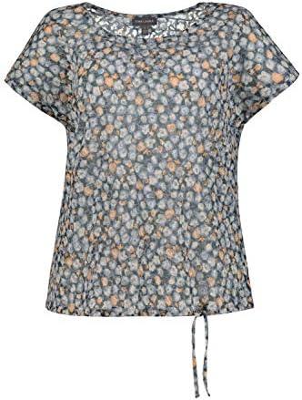 GINA LAURA damski t-shirt, kwiatowy wzÓr, oversized, obrębiona tasiemka 748452: Gina Laura: Odzież