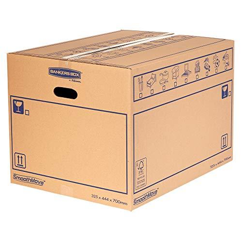 10 bankers Box SmoothMove - Cajas de cartón de doble pared (100 L, con asas, dimensiones internas de 32,5 x 44 x 70 cm, 10 unidades)