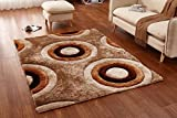 Casa Regina Shaggy Collection - 3D Design - Abstract Circles Brown Beige Soft Shag Area Rugs 5x7