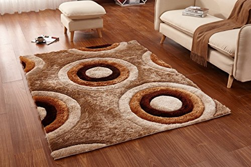 Casamode Functional Furniture Casa Regina Shaggy Collection - 3D Design - Abstract Circles Brown Beige Soft Shag Area Rugs 5x7