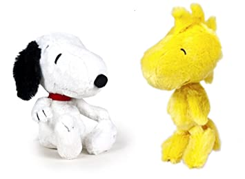 SNOOPY - Pack 2 peluches Snoopy clasico 26cm y Woodstock (amarillo) 30cm - Calidad