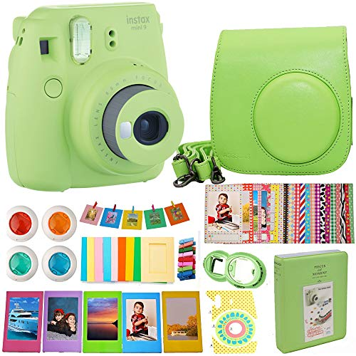 Fujifilm Instax Mini 9 Instant Camera (Green) Bundle Includes Carrying Case + Frames + Photo Album + 4 Color Filters and More Accessories Kit