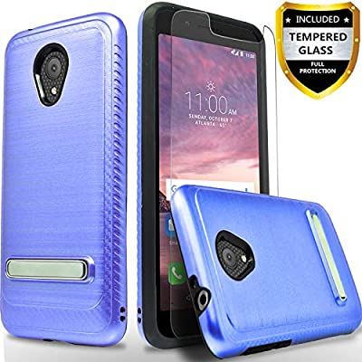 Alcatel IdealXtra 5059R Case, Alcatel 1X Evolve Case, Alcatel TCL LX  A502DL, with [Tempered Glass Screen Protector], CircleMalls Build-in  Kickstand