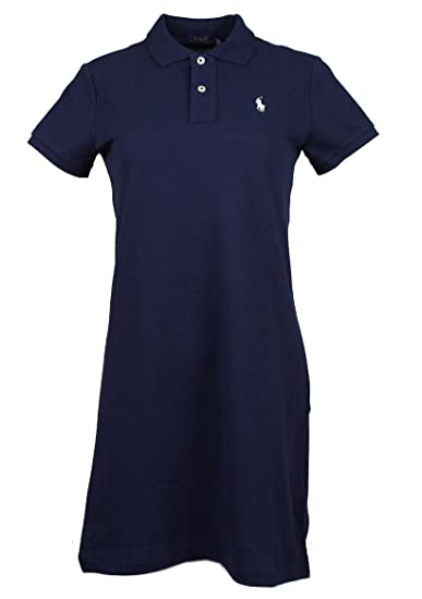 Ralph Lauren Polo Lucy Polo pour Femme Robe Mesh Mini Newport Marine avec weissem Onglet