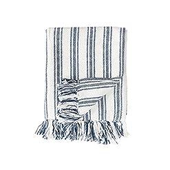 Bedroom C&F Home Navy and White Ticking Stripe Cotton Woven 50×60 Throw Blanket Farmhouse 50 x 60 Throw Navy farmhouse blankets and throws