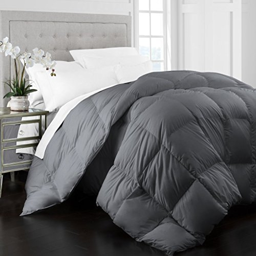 Beckham Hotel Collection 1400 Series Egyptian Quality Cotton Goose Down Alternative Comforter - 750 Fill Power - Premium Hypoallergenic All Season Duvet -King/Cal King - Gray (Living Simply Collection)