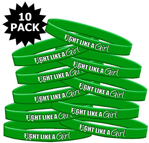 Fight Like A Girl Silicone Wristband Bracelet  10 Pack  Green