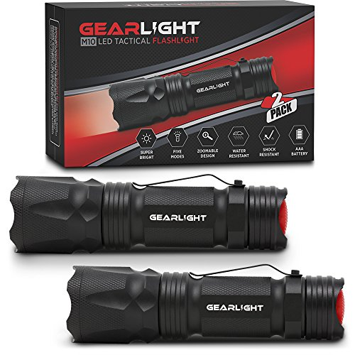 - GearLight M10 LED Tactical Flashlight [2 PACK] with Belt Clip - Bright, Small, EDC Flashlights - 5 Modes, Zoomable, Water Resistant, High Lumen, Uses AAA or 18650 - Best Light for Emergency or Camping