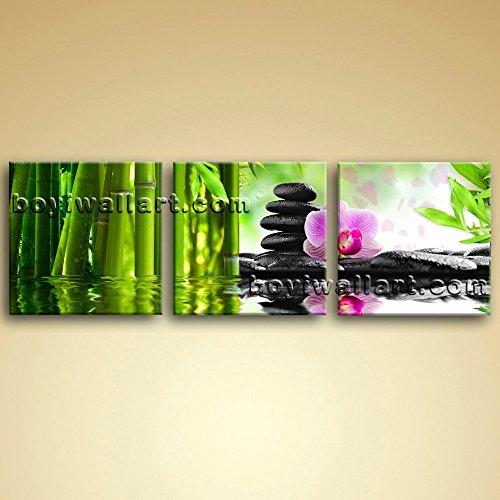 Large Relaxing Spa Feng Shui Floral Wall Art Modern 1 Panels Canvas Print, Large floral Wall Art, Bedroom, Sapphire by Bo Yi Wall Art (Image #3)