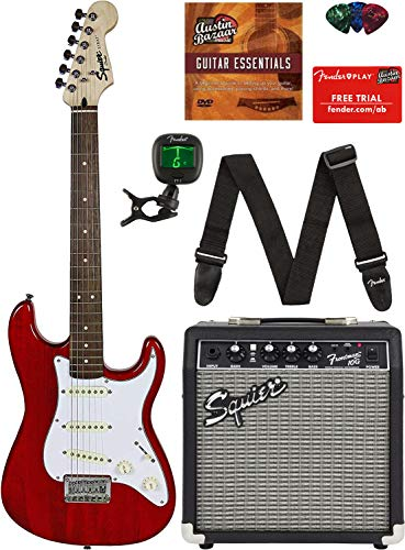 Squier by Fender Short Scale Stratocaster - Transparent Red Bundle with Frontman 10G Amp, Cable, Tuner, Strap, Picks, Fender Play Online Lessons, and Austin Bazaar Instructional DVD