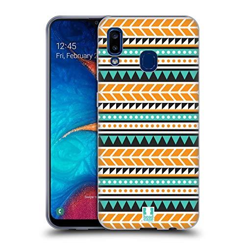 Head Case Designs Orange and Green Aztec Patterns S2 Soft Gel Case Compatible for Samsung Galaxy A20 / A30 (2019) (S2 Galaxy Case Aztec Samsung)