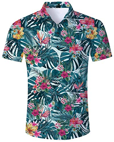 Button Down Up Shirts for Youth Man Boy 3D Print Tie Dye Green Leaves Red Flower V Neck Fun Hawaii Under Tshirts Disco Gym Tops Blouse for Young Teens Swim Surfing Club Bar Drinking Casual Clothing