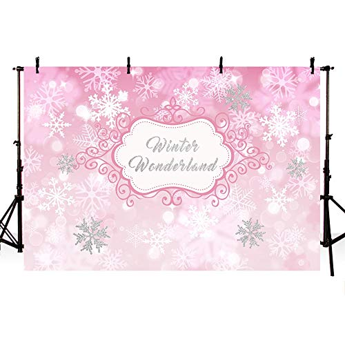 COMOPHOTO Winter Wonderland Theme Backdrop Girl Sweet Sixteen 1st Birthday Party Banner Festival Pink White Snowfall Silver Photo Background Christmas Princess Baby Shower Decorations 7x5ft]()