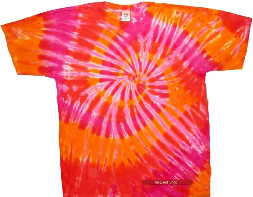 Tie Dyed Shop Spiral Tie Dye T Shirt - Orange and PInk Colors - Short Sleeve - 2X