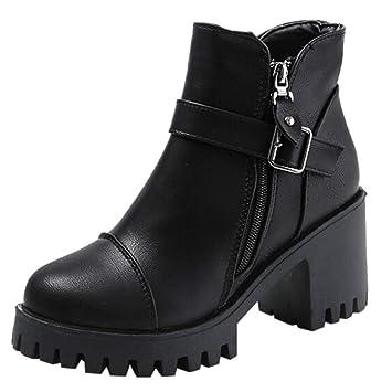 Logobeing Botines Mujer Tacon Planos Botas Mujer/Cinturón Hebilla Botas Altas Botines de Tacón Alto Cuadrados Zapatos(39,Negro): Amazon.es: Equipaje