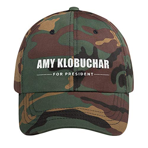 Hogue WS LLC Amy Klobuchar for President Hat (Embroidered Dad Cap) US President 2020 Democrat Race Green Camo