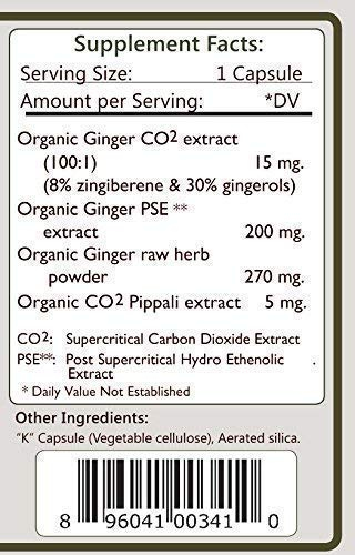 Organic Ginger Capsules - Full Spectrum Holistic Extract Digestive Aid, GI Track Support, Immunity Booster, Non-GMO Vegan 500 mg. 240 Vcaps (2 Pack - 120 ct./ea) From Tattva's Herbs