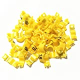 General 1~100 Birds Clip Ring Colorful Foot Ring Leg Band Animal Feeding Tools (2.7mm, Yellow)