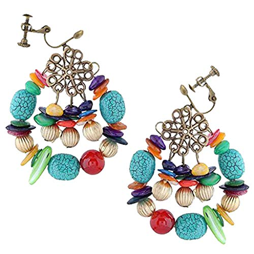 Fashion Bohemian Clip on Earrings Vintage Turquoise Shell Stone Flower Dangle for Girls Women (Beaded Clip On Earrings)