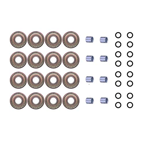 Adventure World 608ZZ ABEC-7 Skate Wheel Bearings, Spacers and Washers Kit (Skateboard and Inline Skate) (8 Wheel Pack (16 Bearings, 16 washers, 8 spacers)) (Inline Skate Wheel Spacer)