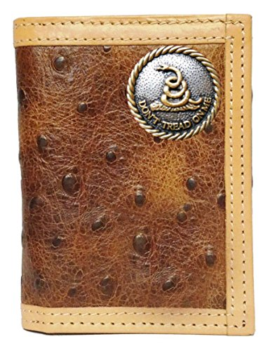 Custom Don't Tread On Me Ostrich Print trifold - Fold Leather Tooled Tri