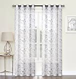 Regal Home Collections 2 Pack: Ultra Luxurious Scroll Floral Chic Matte Sheer Embroidered Grommet Curtains – Assorted Colors (Gray)
