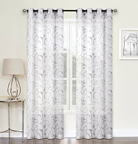 Regal Home Collections 2 Pack: Ultra Luxurious Scroll Floral Chic Matte Sheer Embroidered Grommet Curtains - Assorted Colors (Gray) Gray Sheer Curtains