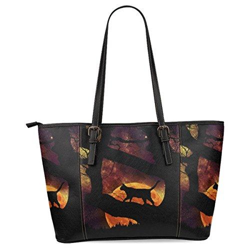 InterestPrint Halloween Cat Women's Leather Tote Shoulder Bags (Halloween Purses)